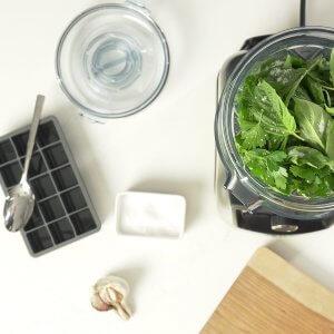 yrttejä Vitamix-kannussa ja jääkuutioastia